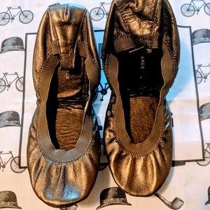 Yosi Samra Merlin Bronze Leather Ballet Flats